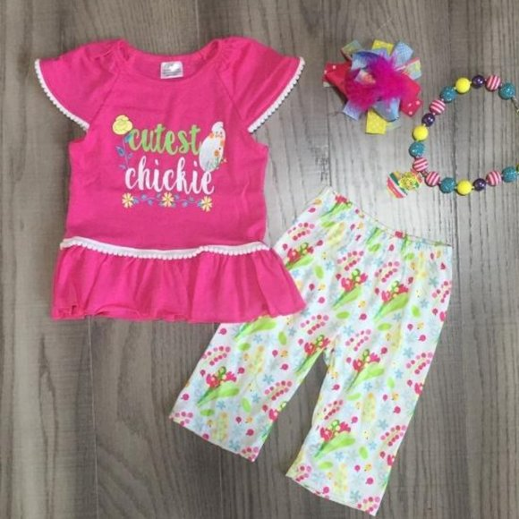 Boutique Easter Chick Girls Outfit Set